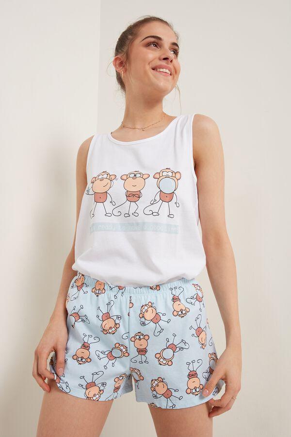 Short Sleeveless Cotton Monkey Print Pajamas