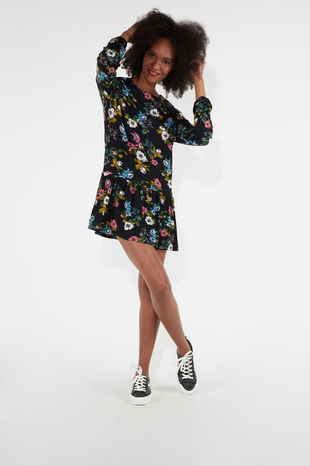 Long-Sleeved Round-Neck Dress With Frill Detail