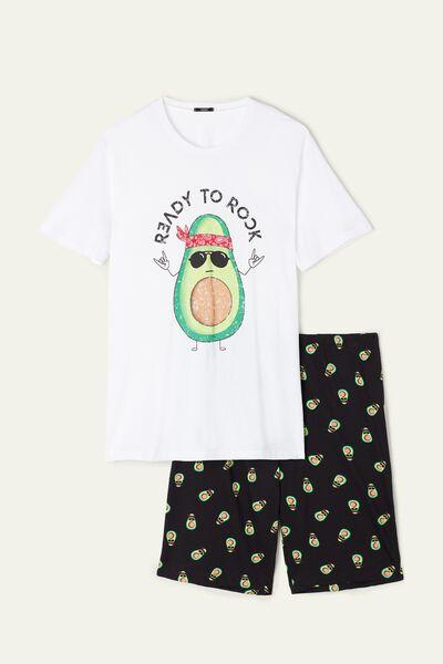 Krátké Pánské Pyžamo s Potiskem Avokáda Rock
