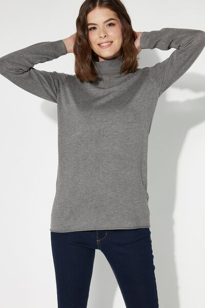 Long-Sleeved Polo-Neck Top