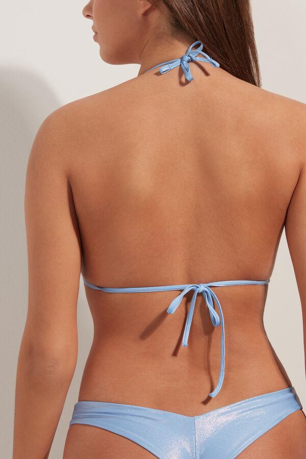 Shiny Lightly Padded Triangle Bikini Top