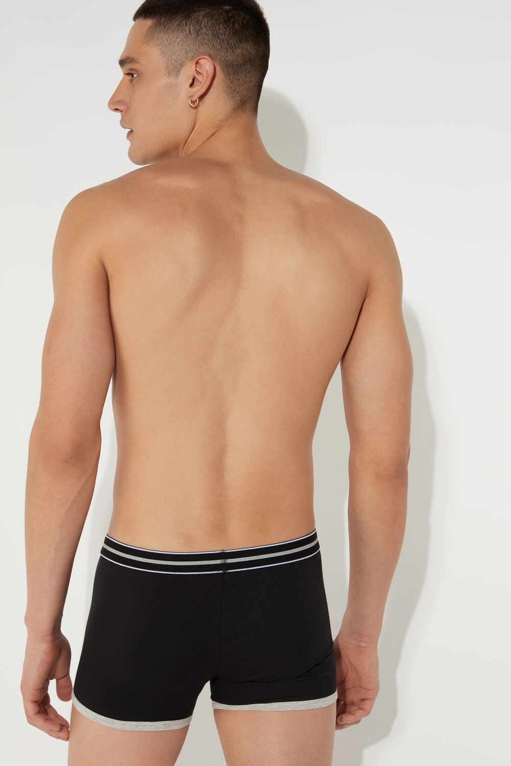 Cotton Boxers with Striped Elastic Band