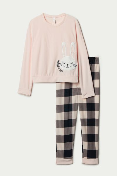 Girl's Microfleece Pyjamas with Bunny Patch
