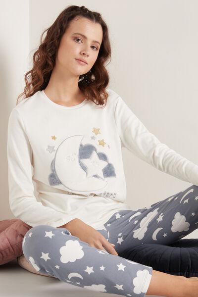 Dlouhé Pyžamo z Bavlny Měsíc&Hvězdy