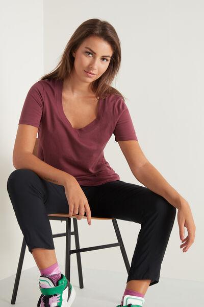 T-shirt en Coton avec Encolure Ronde