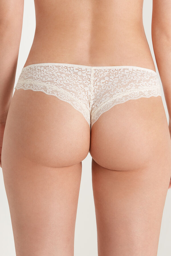 Recycled Lace and Laser Cut Printed Cotton Brazilian Briefs