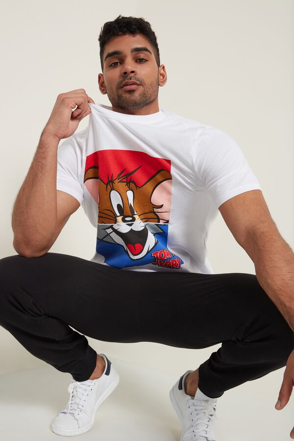 Cotton T-Shirt with Tom and Jerry Print