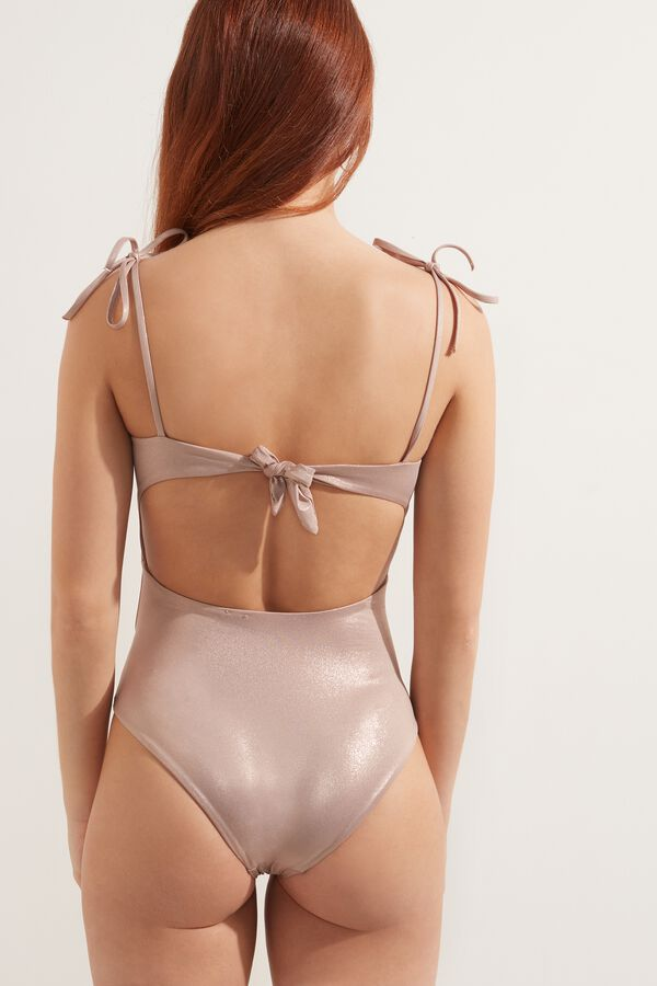 Shiny Nude One-Piece Swimsuit with Knots