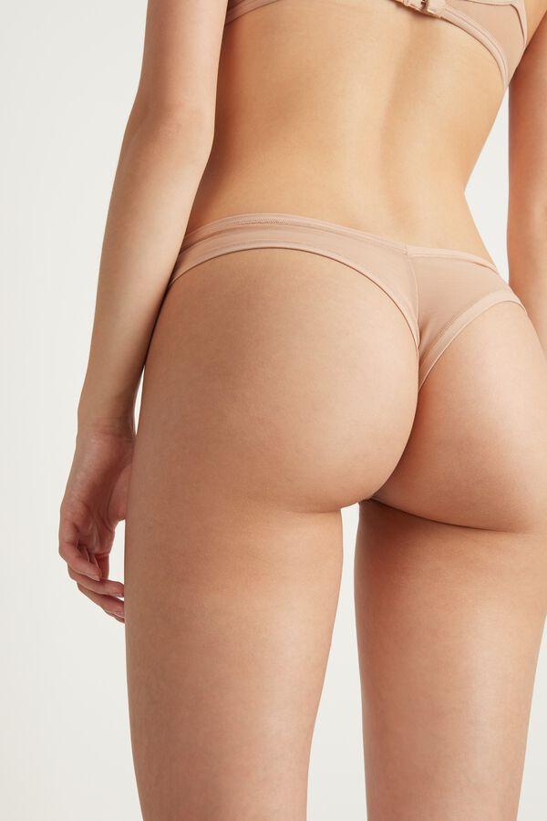 High Cut Brazilian Bikini in Tulle and Microfiber