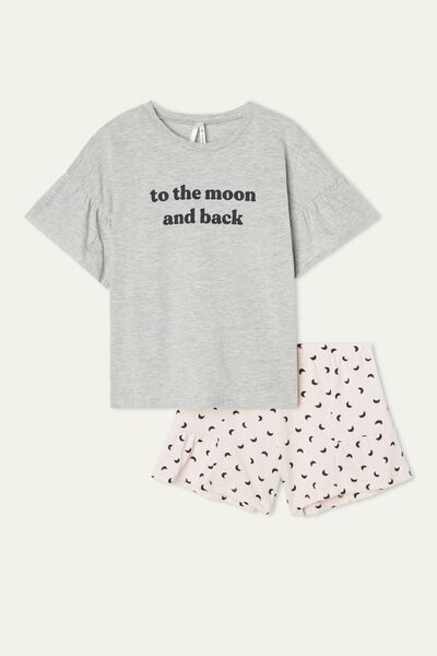 "Girls' ""To the Moon"" Print Short Cotton Pyjamas"