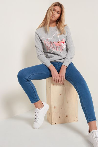 Long-Sleeved Pink Panther Print Sweatshirt