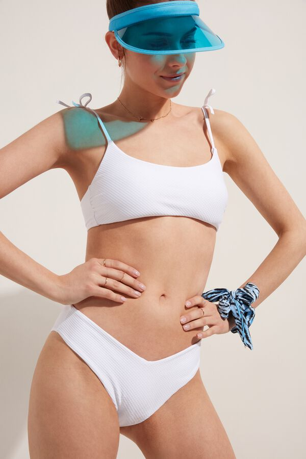 White 3D High-Leg Bikini Bottoms