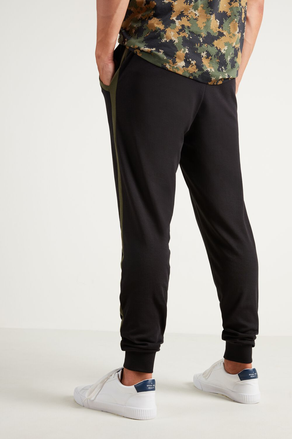 Long Heavy Cotton Trousers with Piping
