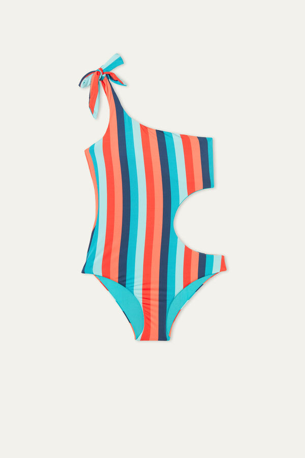 Colourful Striped Cut-Out One-Shoulder One-Piece Swimsuit