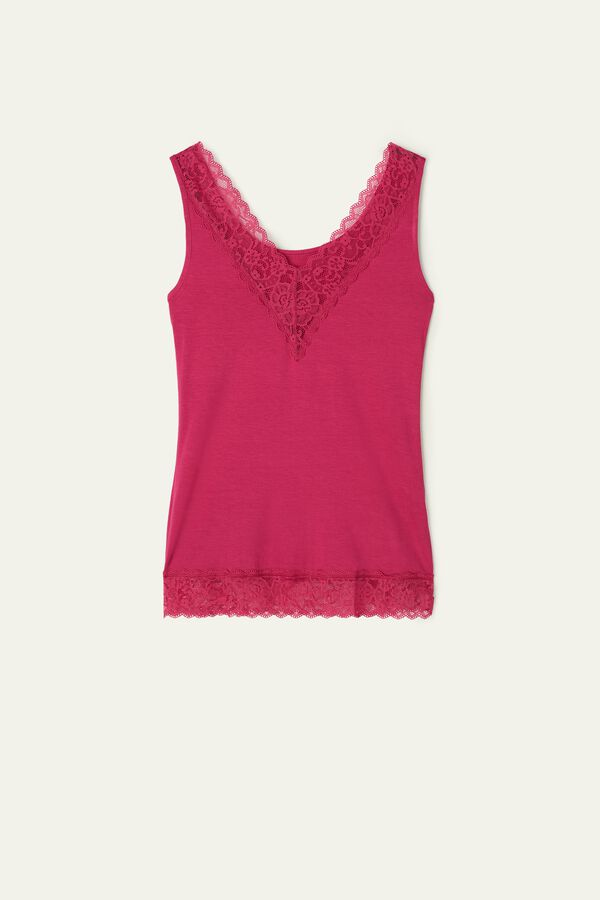 Reversible V-Neck Lace Vest Top