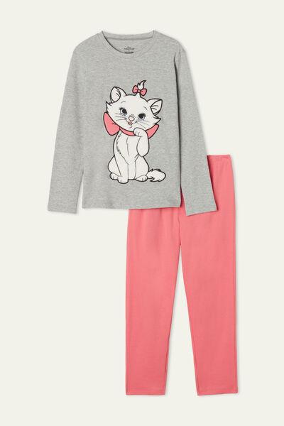 Girls' Long Heavy Cotton Pyjamas with Aristocats Marie Print