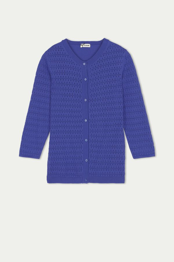 3/4 Sleeve Openwork Cardigan with Buttons
