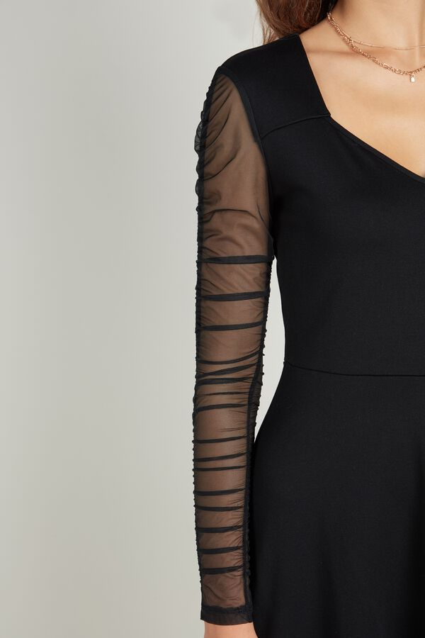 Ruched Tulle Milano-Stitch Dress