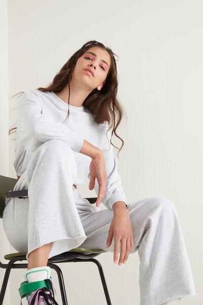 Laser Cut Fleece Palazzo Trousers