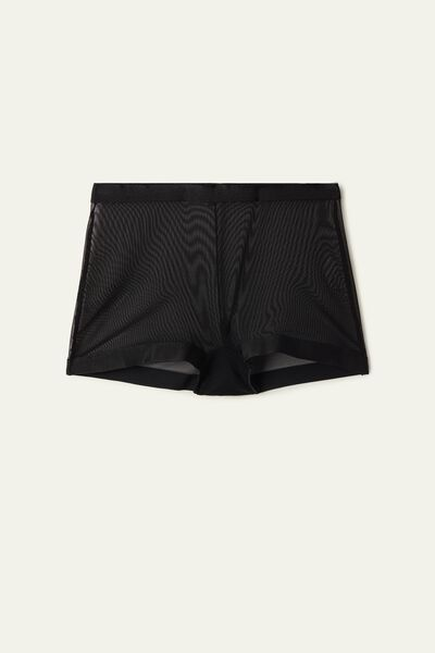 Invisible Mesh Tulle High-Waist Boyshorts