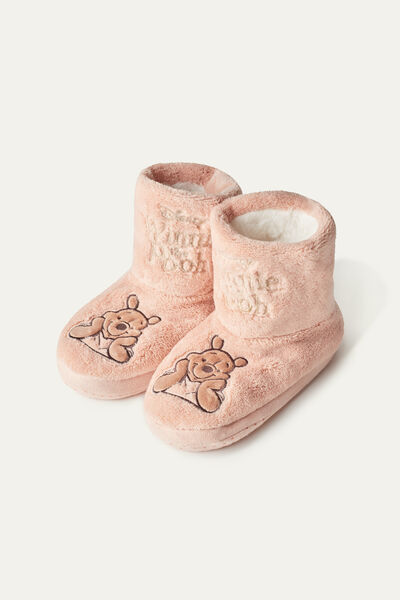 Unisex Kids' Winnie the Pooh Print Fleece Slipper Boots