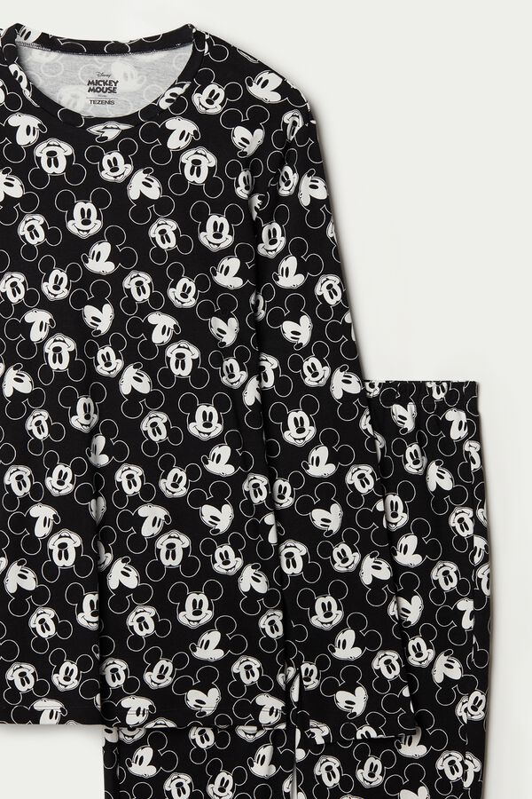 Men's Long Cotton Mickey Mouse All-Over Pajamas