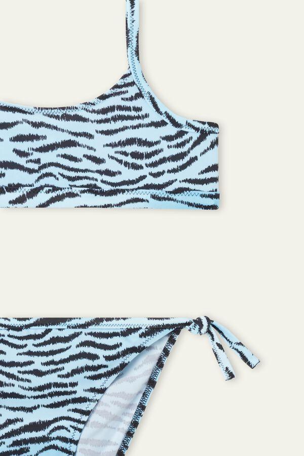 Girls' Faded Zebra Print Crop Bikini