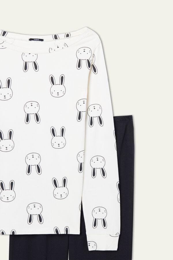 Long Cotton Bunny Print Pajamas
