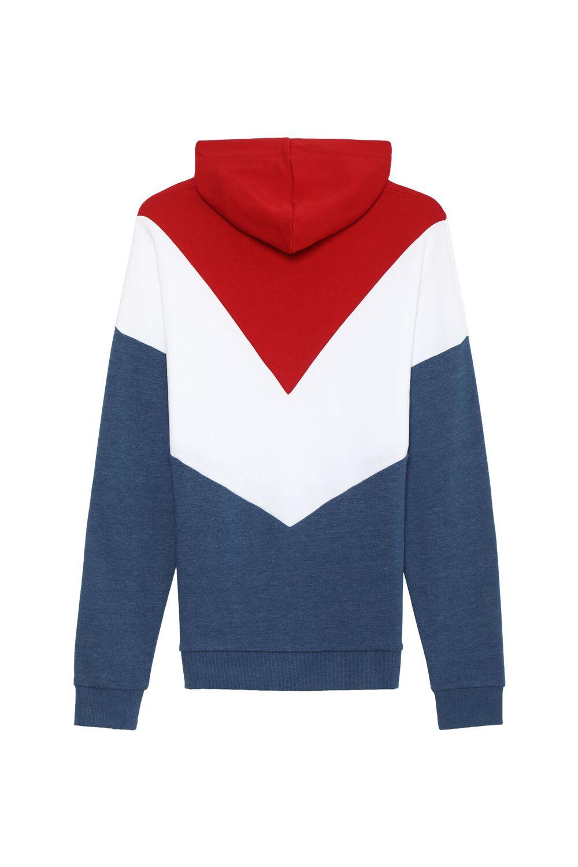 Long-Sleeved Color Block Hooded Sweatshirt