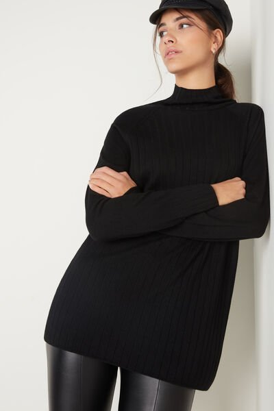 Long Ribbed Top with High Neck