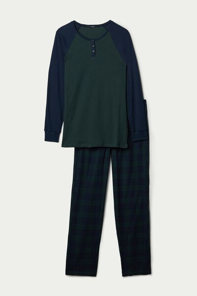 Men's Long Pyjamas with Grandad Collar