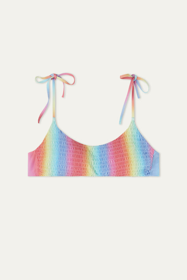 Bikini Brasier de Punto Smock con Lazos Rainbow