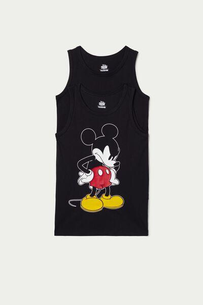 2 X Canotta Stampata Cotone Mickey Mouse
