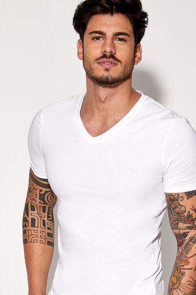 T-shirt com Decote em V em Algodão Elástico