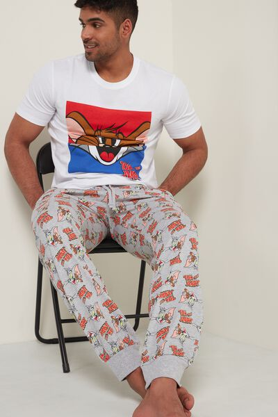 Long Cotton Trousers with Tom and Jerry Print