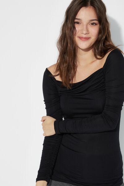 Off-the-shoulder Curled Viscose Shirt