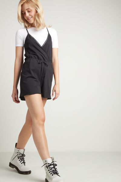 Cotton Romper with Pom Pom