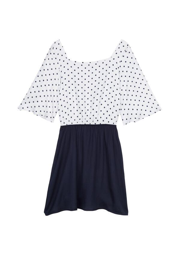 Square Neck Dress in Viscose Fabric