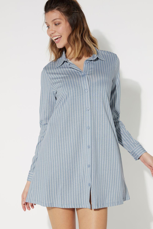 Open Pinstripe Print Nightgown