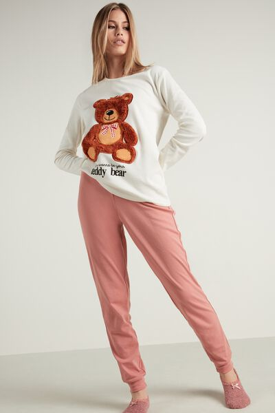 Teddy Patch Long Cotton Pyjamas