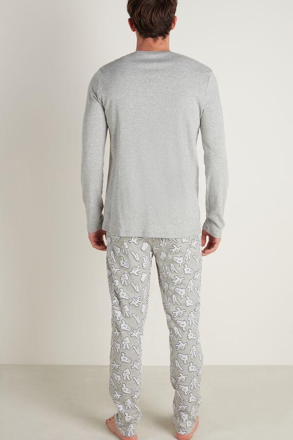 "Men's Long Cotton Mickey Mouse ""Hug Me"" Pajamas"