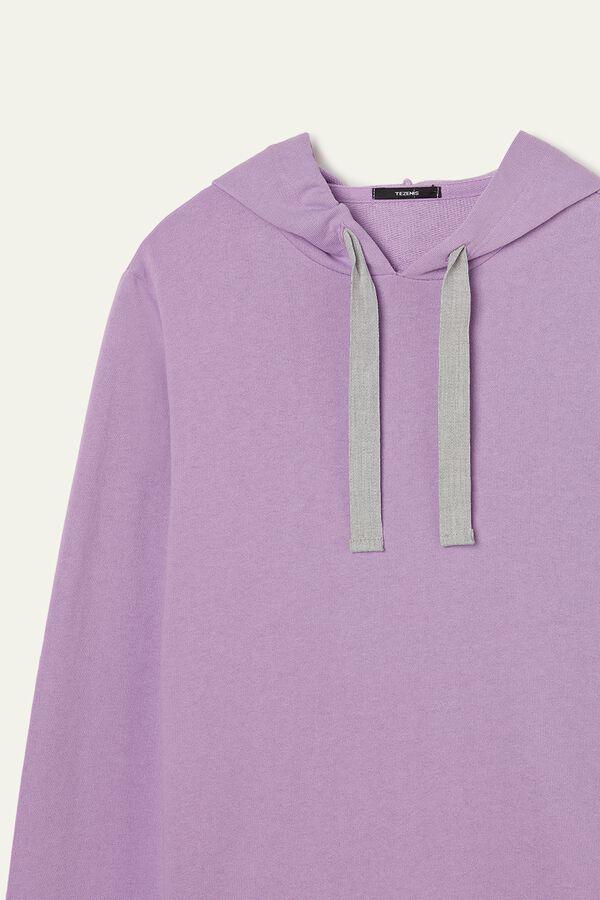 Leichtes Sweatshirt in offenkantiger Verarbeitung mit Kapuze