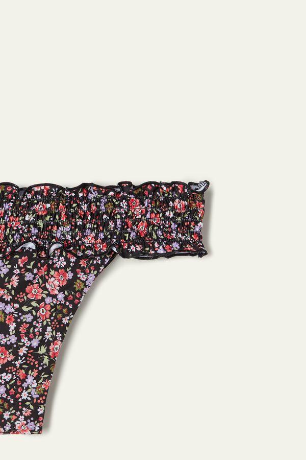 Micro-Flower Pattern Smocked Brazilian-Cut Bikini Bottoms