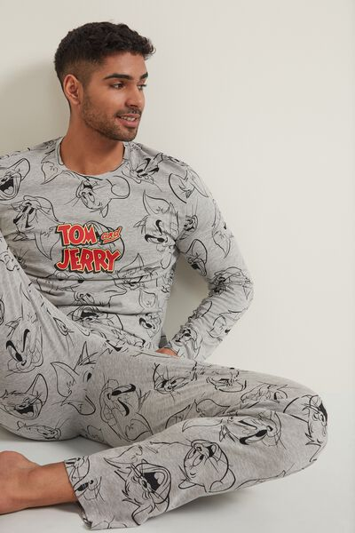 Pijama Largo de Hombre con Estampado Tom and Jerry Gris