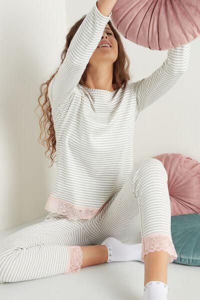 Dlouhé Pruhované Pyžamo s Krajkovými Vsadkami