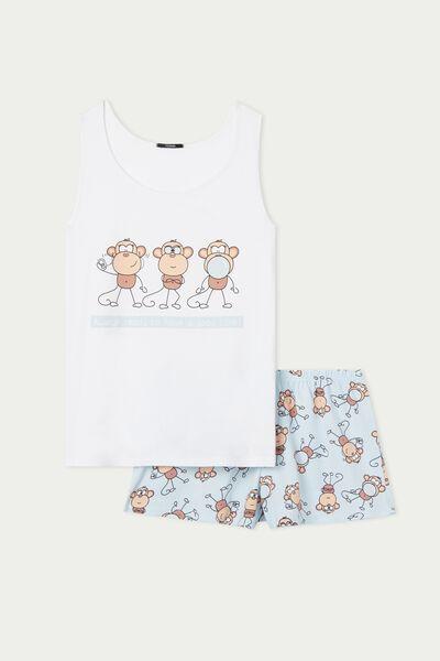 Pyjama Court Sans Manches en Coton Imprimé Singes
