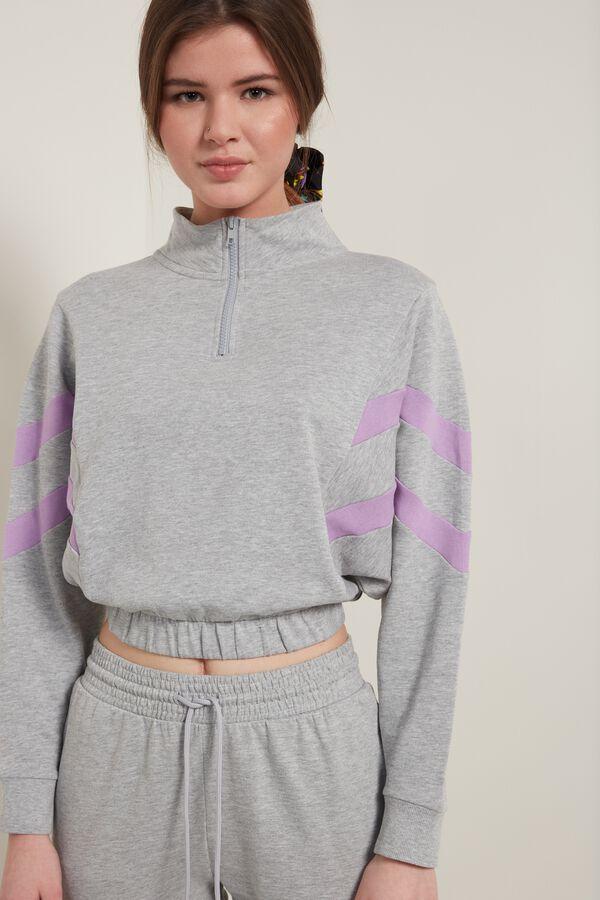 Camisola Felpa Curta Manga Comprida com Faixas Bicolor