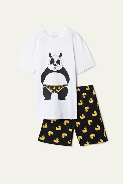 Boy's Short Panda Print Pyjamas