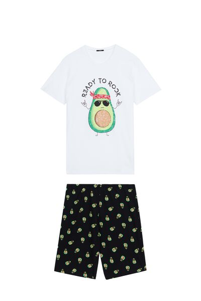 Men's Short Avocado Rock Print Pyjamas