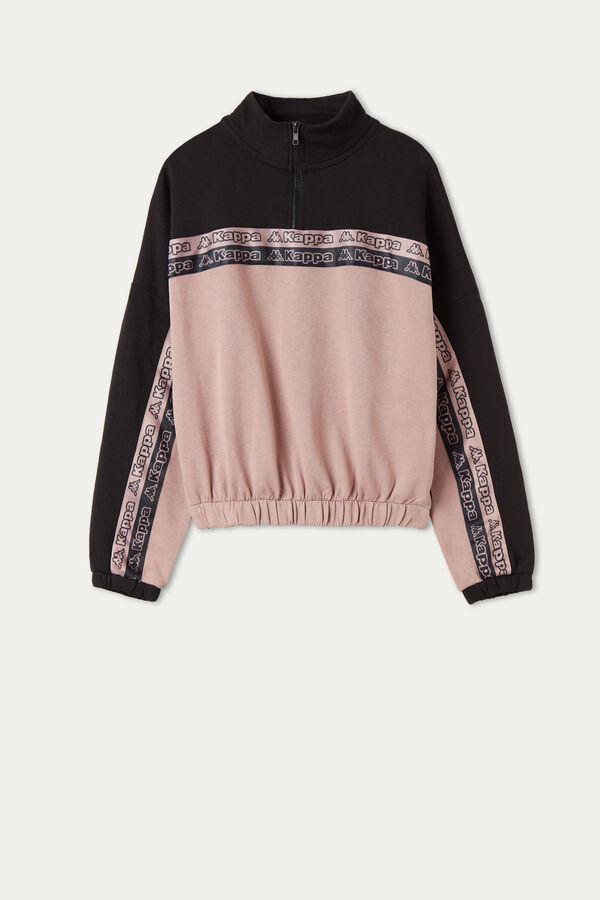 Crop-Sweatshirt aus Baumwolle mit Reißverschluss und Kappa Streifen